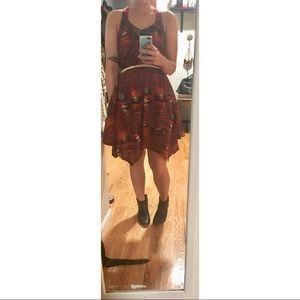 Red print asymmetrical halter dress